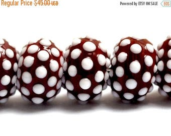 ON SALE 30% off NEW! Handmade Glass Lampwork Bead Set - 10707101 Seven Polka Dots on Burgundy Rondelle Beads