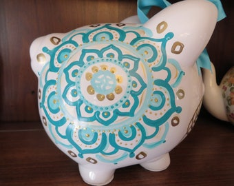 piggy bank hand painted personalized teal and gold dreamer feather