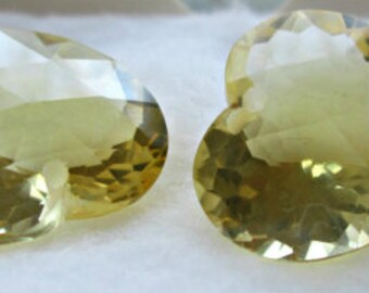 SALE - Luxe AAA Lemon Quartz Gemstones, Beautiful Heart Shape Focals,  Extreme Concave Shape, Carved Heart Shape