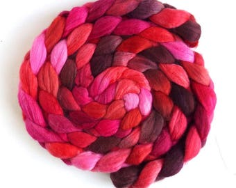 Polwarth/Silk Roving - Handpainted Spinning or Felting Fiber, Red Continuum