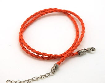 Orange faux braided leather - 3mm - with clasp - cord
