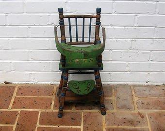 Antique Vintage Wooden Highchair Doll Highchair Handmade Highchair Hand Made High Chair