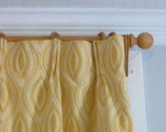Yellow Curtains, Handmade Curtains, Hand Sewn Curtains, Designer Fabric Curtains, Yellow Drapes, Yellow White Curtains, Pinch Pleat Curtains