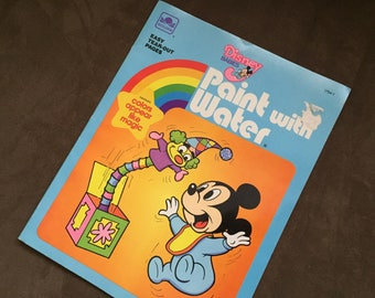 Vintage Disney Watercolor Book 1985 New Vintage Childrens Activity Book Vintage 80s Disney Coloring Book Mickey Mouse kids painting Activity