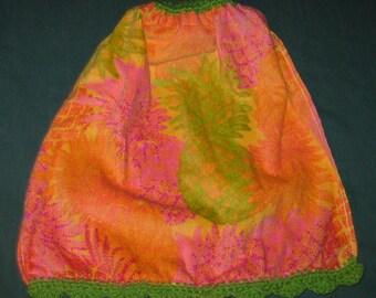 Crochet Hanging Towel Orange, green pineapples, green top & Bottom