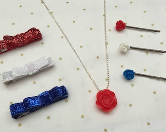 Red, White, and Blue Accessory Set- Red White Blue Hair Clips-Rose Necklace-Memorial Day-July Fourth- Labor Day-Hair Clips and Necklace Set