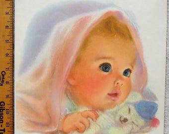 American Beauty Northern Tissue Print Baby 11x14 Frances Hook Vintage