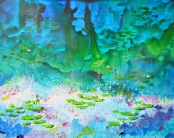 Monet's Waterlilies in Acrylic Ink