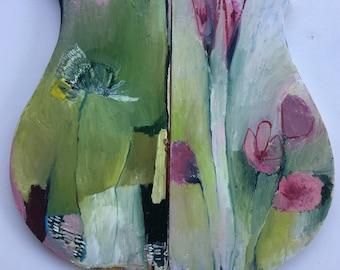 Diptych Vessel, original oil art piece on salvaged wood