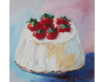 Original Painting On Canvas * Strawberry Cake 1 * Painted With Palette Knife * Original Art Wall Hanging