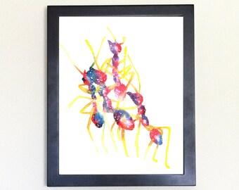Ant Art Print, Galaxy Spirit Animal Watercolor 8x10