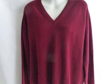 Vintage 50s 100% Cashmere Sweater Size L Burgundy Red V Neck Jumper Boyfriend
