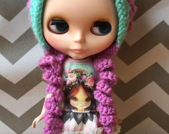 Pixie Hat for Blythe - Mint & lavender