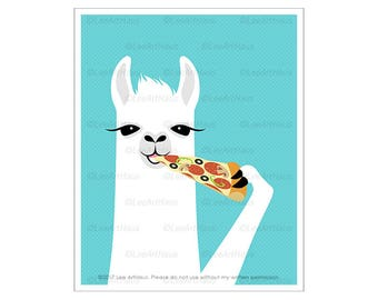 58J Animal Art Prints - White Llama Eating Slice of Pizza Wall Art - Pizza Print - Pizza Decor - Llama Drawing - Children Room Decor