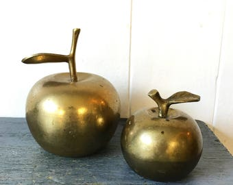 vintage brass apple bells - gold metal fruit - farmhouse kitchen - teacher gift