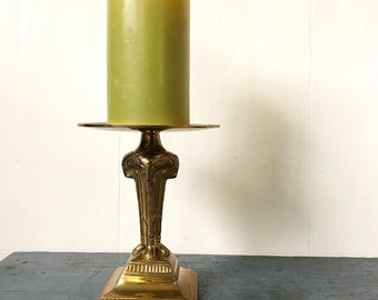 vintage brass candle holder - pillar candle stand - Egyptian ram aries - Hollywood Regency