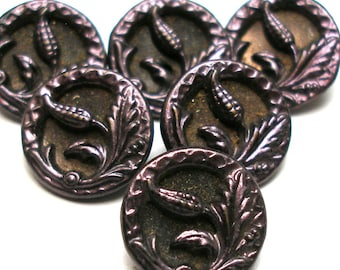 "6 Antique metal BUTTONS. Victorian floral design with purple tint. 9/16"".  unused. Plant life."