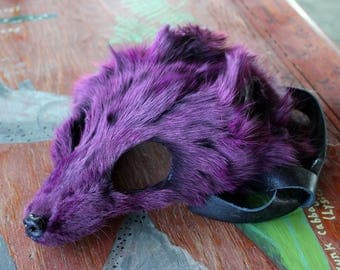 Real eco-friendly dyed purple Arctic fox fur mask - shaped and glasses friendly - for ritual, dance, costume and more