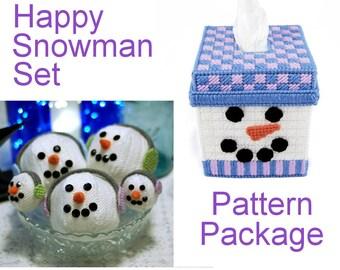 PATTERN: Happy Snowman Set in Plastic Canvas