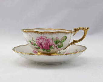 Woodlands Genuine Bone China Tea Cup and Saucer - Made in England - Pink Roses - Vintage Tea Cup and Saucer Set