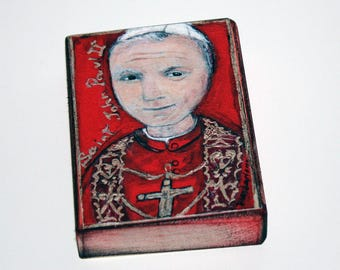Saint John Paul II - Aceo Giclee print mounted on Wood (2.5 x 3.5 inches) Folk Art  by FLOR LARIOS