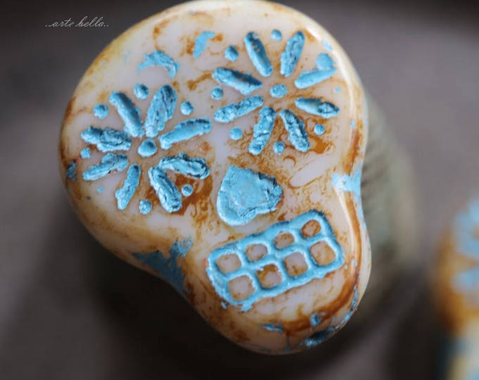 SUGAR SKULLS No. 5862 .. 2 Picasso Czech Sugar Skull Beads 20x17mm (5862-2)