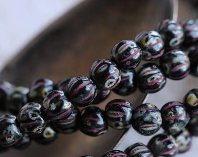 TWILIGHT MELONS No. 2 .. New 50 Picasso Czech Melon Beads 4mm (5998-st)