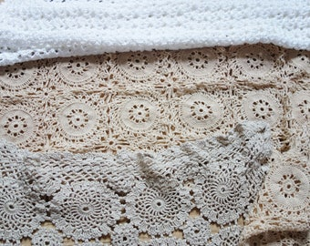 collection of vintage crochet lace mats