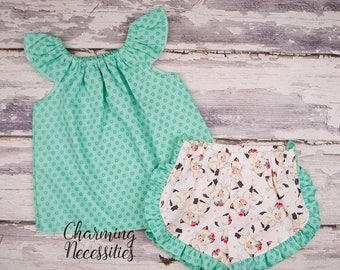 SALE Happy Kitties Top and Ruffle Shorts Set, Fan, Trendy Baby Toddler Girls Clothes, Outfits, by Charming Necessities Cream