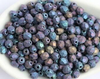 4mm Matte Rainbow Iris, Faceted Round Beads, Fire polish Czech Glass, Sold 50 Piece