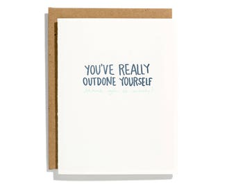 Outdone Yourself - Letterpress Thank You Card - CT158