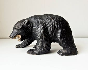 Carved Wooden Bear, Black Forest Bear Sculpture, Bear Figurine, Grizzly Bear, Hand Carved Bear, Table Top Decor