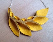Petal Collection-  Thick Yellow Leather Necklace