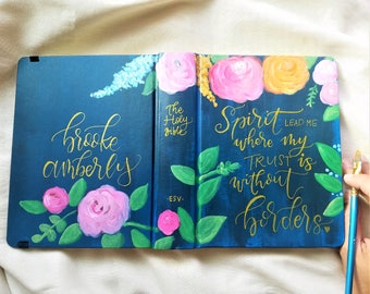 """Painted bible rustic floral theme """"Esther"""" hand lettering, hand painted, ESV or NIV journaling bible or I paint your bible"""