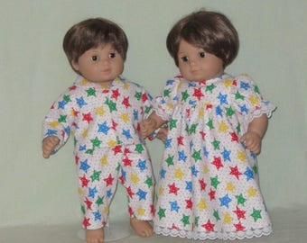 American Girl Bitty Baby Boy Girl Twins Sleepwear  Bright Stars