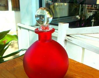 Red Satin Glass Perfum Bottle Crystal Stopper / Deep Red Perfum Bottle Vanity Decor