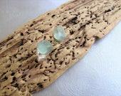 Seafoam Sea Glass - Tiny Stud Earrings - Genuine Sea Glass Earrings - Miniature Earrings - Ocean Jewelry Gifts - Tiny Beach Glass Earrings