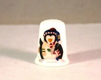 Collectible Thimbles, China Thimble, Handmade Thimble, Thimble Collection, Christmas Thimble, Penguin Thimble
