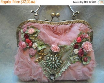 36% OFF Closet Cleaning PURSE Handbag Handmade Whimsical Romantic Fairylike Glamgirl Weddings - Rose Pink