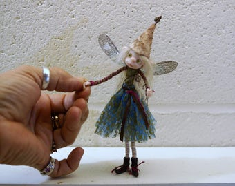 ooak poseable (blonde ) woodland common PIXIE fairy ( #15 ) polymer clay art doll by DinkyDarlings   faerie faery angel