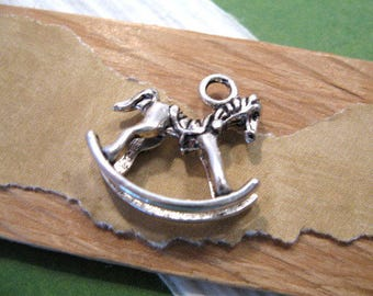 Pewter Rocking Horse Charm in Antique Silver