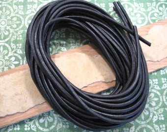 Black Leather Round Cord from Germany - One 39 Inch Piece