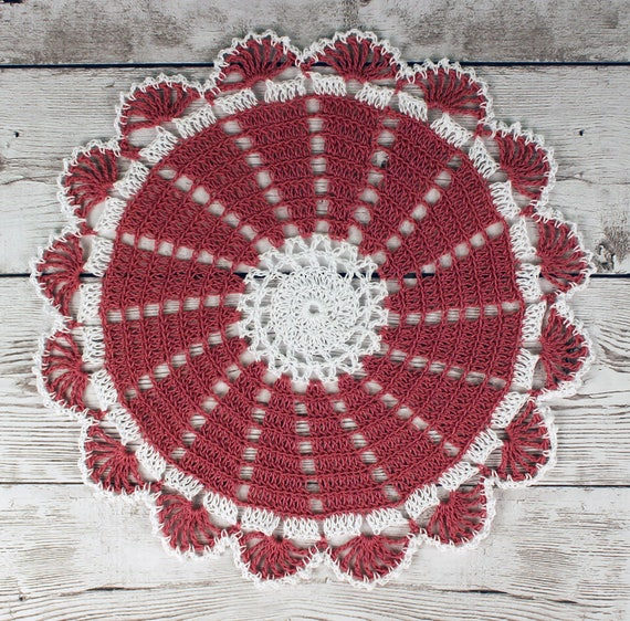 Lovely Crocheted Dusty Rose White Doily Table Topper - 10 1/2 inches