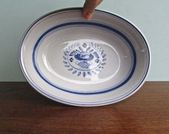 "Arabia of Finland ""BLUE ROSE""  Porcelain Oval Vegetable Bowl, Hand Painted in Mid Century Finland"