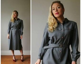 ON SALE 1960s Minimalist Seattle Grays Dress~Size Medium