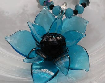 Blue and Black Crystal Necklace with Glass Flower Pendant