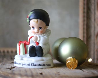 Vintage Enesco Pierrot Figurine Thinking of You at Christmas Time E 6447