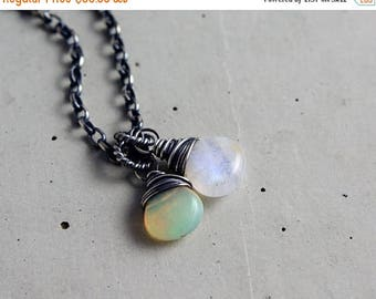 Summer Sale Sunrise Moonrise Necklace, Moonstone Necklace, Opal Necklace, October Birthstone, Opal Pendant, Wire Wrapped, Sterling Silver, Y