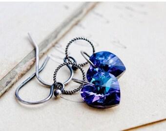 Drop Earrings, Heart Earrings, Dangle Earrings, Sterling Silver, Purple Hearts, Swarovski Crystal, Swarovski Earrings, Amethyst Hearts