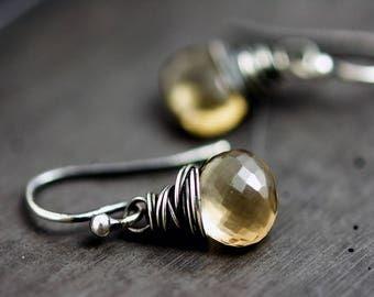 Drop Earrings, Quartz Earrings, Champagne Citrine, Gemstone Earrings, Quartz Earrings, Quartz Jewelry, Taupe Gemstone, Sterling Silver,